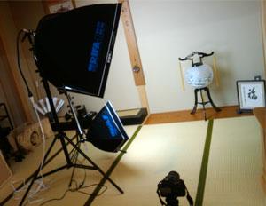 盆提灯の撮影風景
